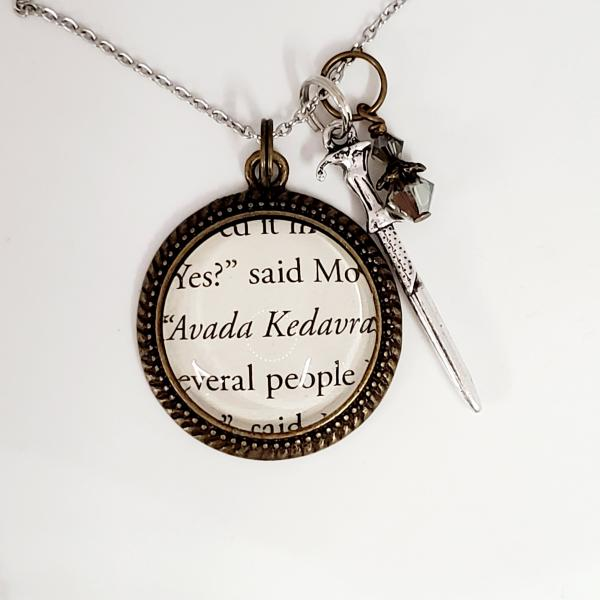 Avada Kedavra - Harry Potter Single Sided Book Necklace picture