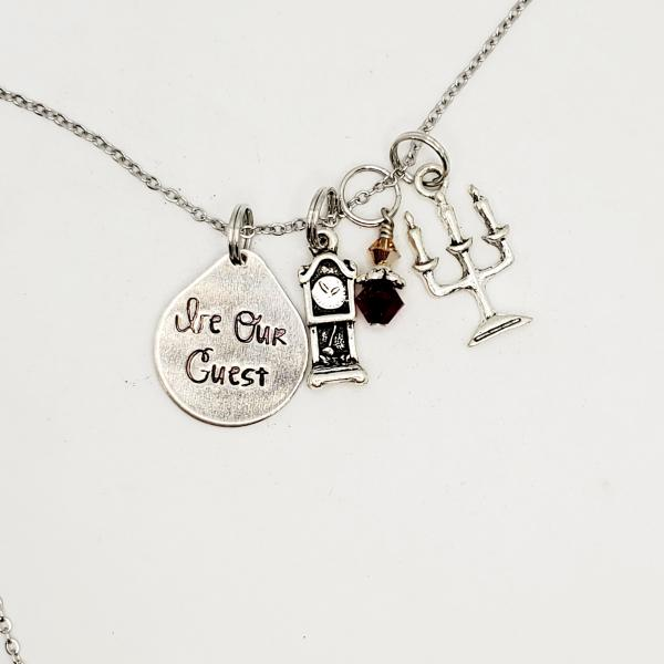 Be Our Guest - Beauty and the Beast Inspired charm necklace