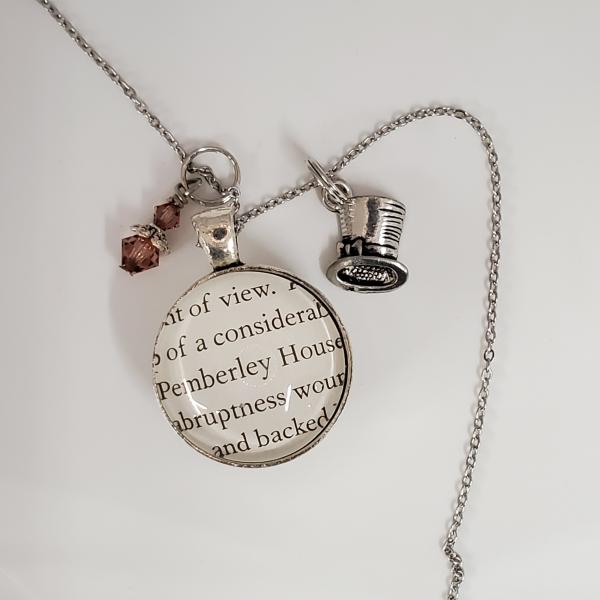 Mr. Darcy / Pemberley House - Jane Austen - Pride and Prejudice - Double sided book necklace picture