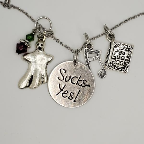 Sucks - Yes! - Beetlejuice inspired - Charm Necklace