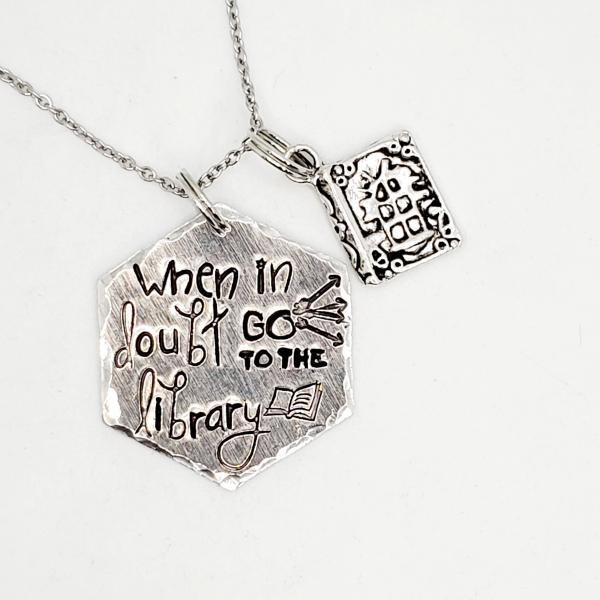 When in doubt, go to the library - Harry Potter Inspired - single charm necklace