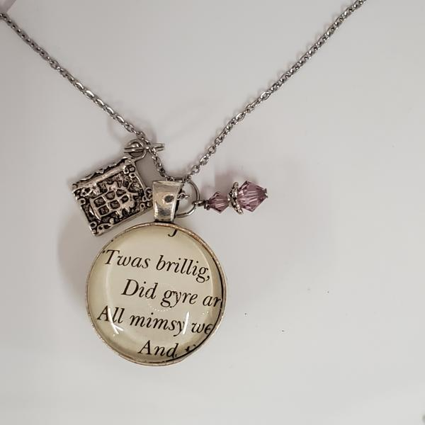Jabberwocky - Alice in Wonderland - Double sided book necklace picture