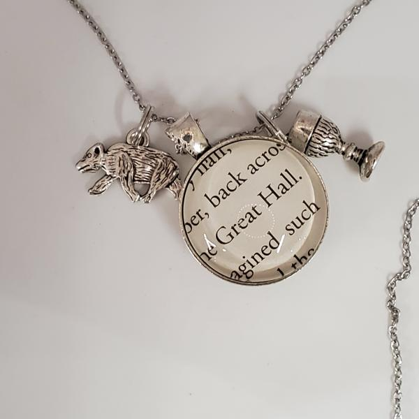 Hufflepuff / Great Hall  - Harry Potter Double Sided Book Necklace picture