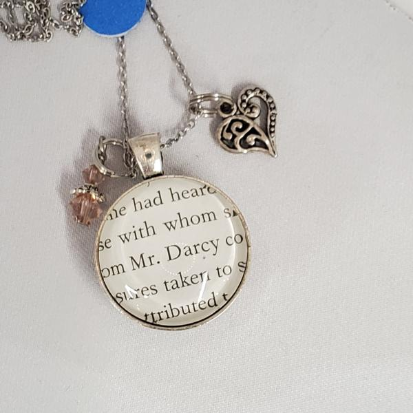 Mr. Darcy / Elizabeth - Jane Austen - Pride and Prejudice - Double sided book necklace