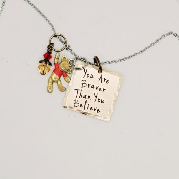 You are Braver than you believe - Winnie the Pooh Inspired charm necklace