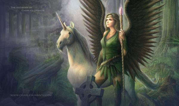 Gaming Play Mat Unicorn Celtic Angel Ranger Female Lady of the Forest Warrior CCG TCG LCG Card Game
