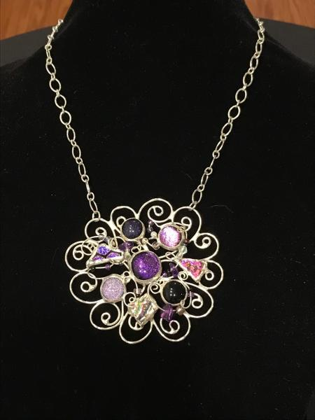 Necklace - Purple-Pinks Abstract Swirl
