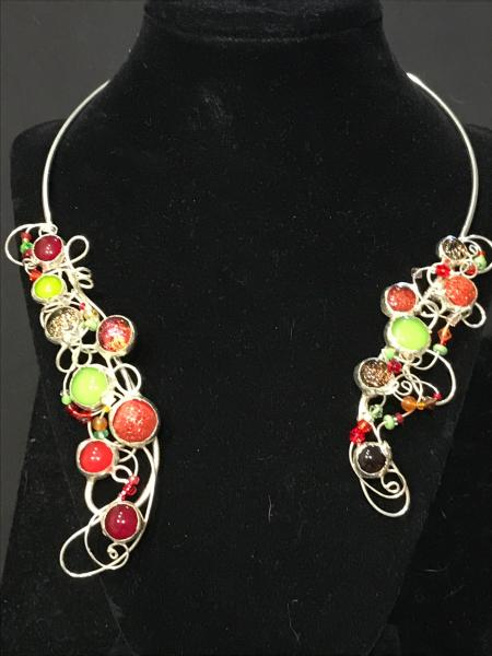 Collar - Bold Red Blends in Swirl Design