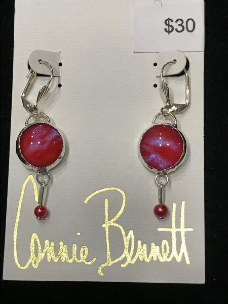Earrings - Pinkish Red Single Stone