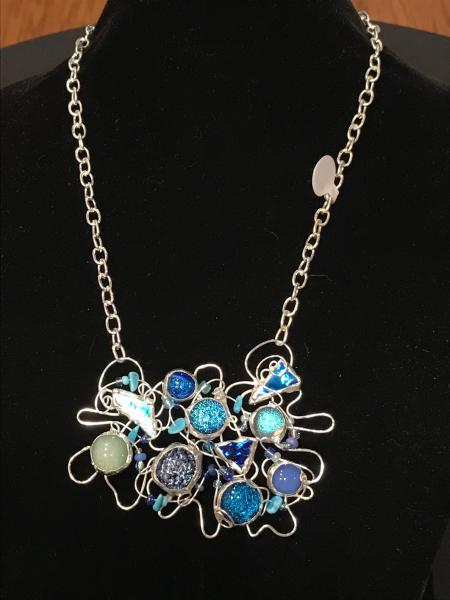 Necklace - Burst of Blues Abstract Wire