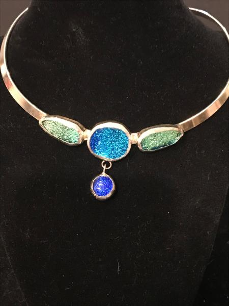Collar - Blue and Green 4 Stone