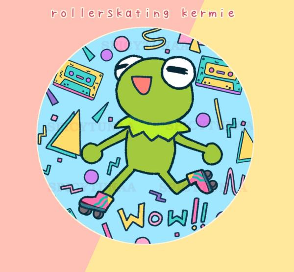 "Rollerskating Kermie 2.25"" Circle Pinback Button"