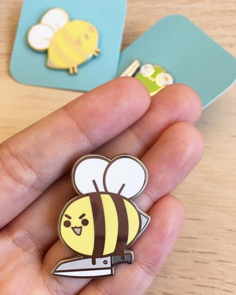 Bee Knife - Enamel Pin 1.25""