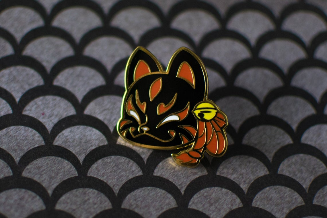 SECONDS Black Fox Mask Japanese Lore Enamel Pins