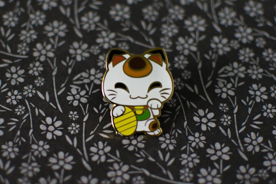 White Lucky Cat Japanese Lore Enamel Pins
